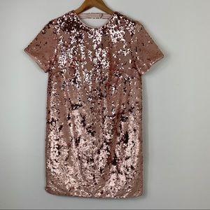 Forever21; Rose Gold Sequined Shift Dress